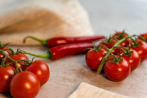 Tomatoes, Chili, Towel, Eat, Food, Fresh