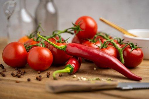 Tomatoes, Knife, Towel, Pepper, Chili