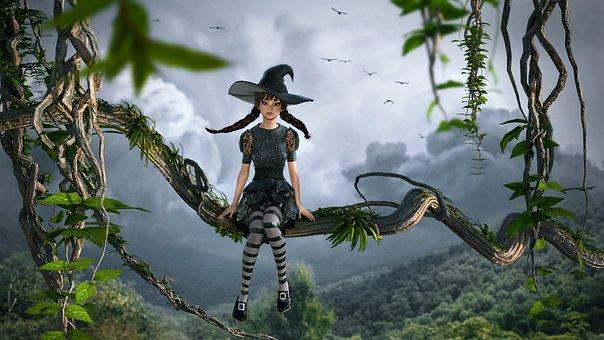 Fantasy, Nature, Liane, Girl, Sit