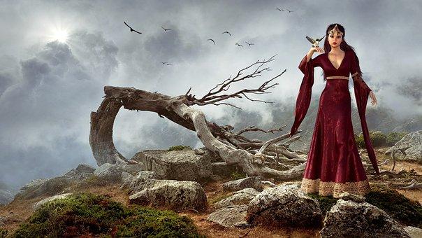Fantasy, Landscape, Girl, Tree, Mountain