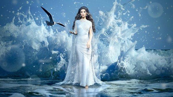 Fantasy, Girl, Sea, Spray, Gull, Water