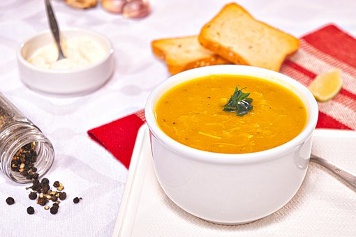 Soup, Cream, Pumpkin, Chicken, Meat