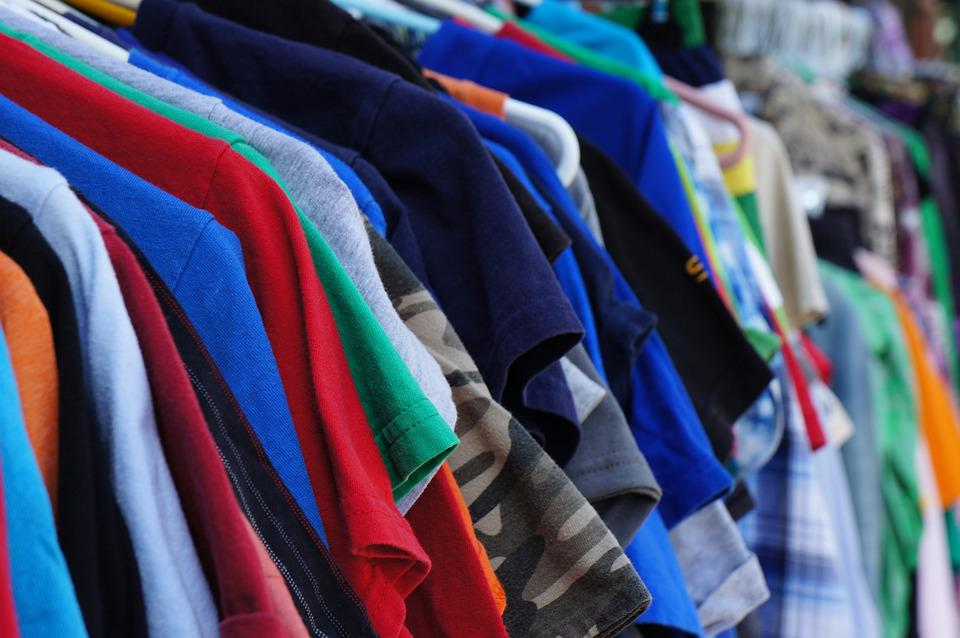 Clothes, Old, On Hangers, Rack, Garage Sale, Colorful