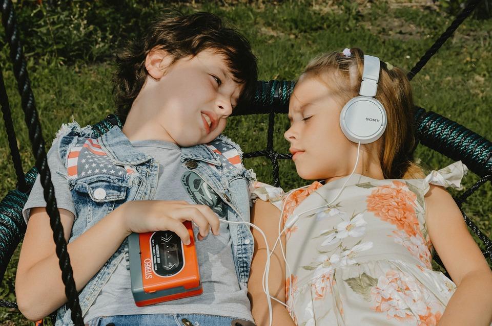 音楽, ヘッドセット, 子供, ただし、, 愛, オーディオ, サウンド, 聞く, ラジオ, オーディション
