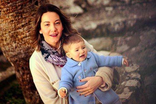 カップル, ベベ, 自然, 家族, 母, 人々, 赤ちゃん, 女性, 男, 両親