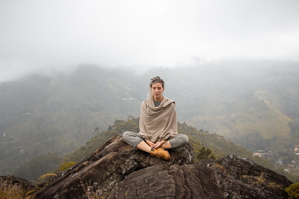 Meditar, Meditación, Mujer, Montañas, Naturaleza