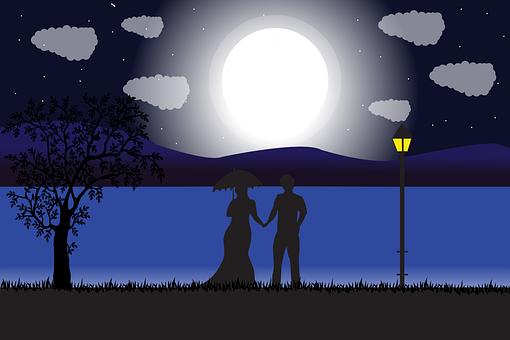 Couple, Romantic, Night, Love, Moon