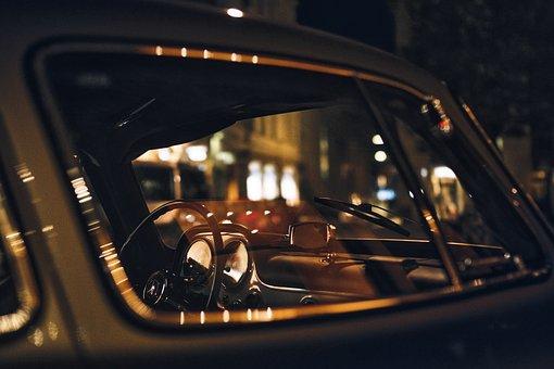メルセデス, アンティーク, レトロ, 自動車, 夜, フィッティング, 反射