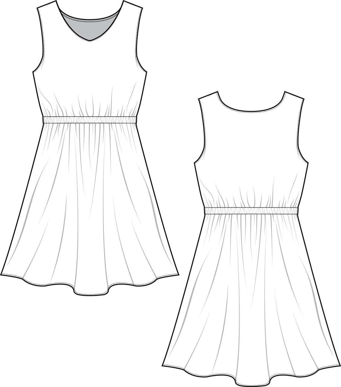 Dress Fashion Sketch Free Vector Graphic On Pixabay