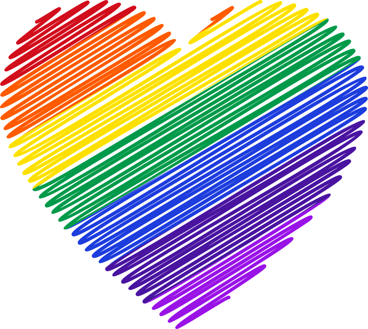 A heart in pride colors, scribbled like it was made with markers. Image credit GDJ via Pixabay.