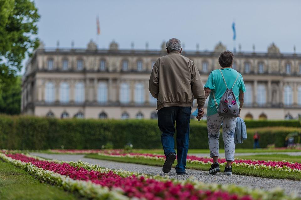 老夫婦, 退職, 徒歩, シニア, 引退, 高齢者, 年金, 旅行, 古い, 年金受給者