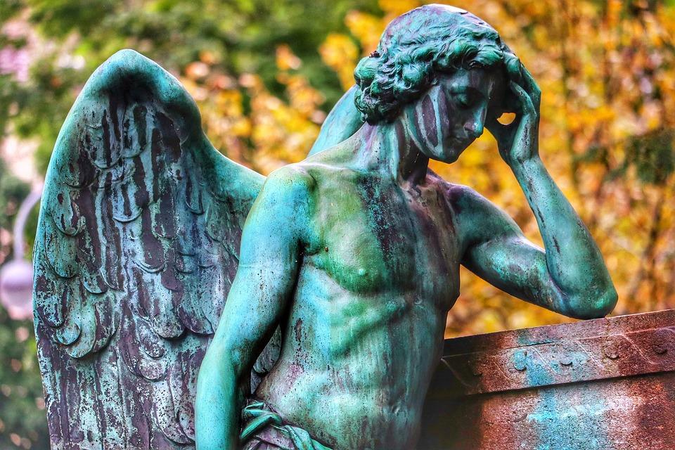 Angel, Tomb, Dig, Religion, Graveyard, Bronze, Patina