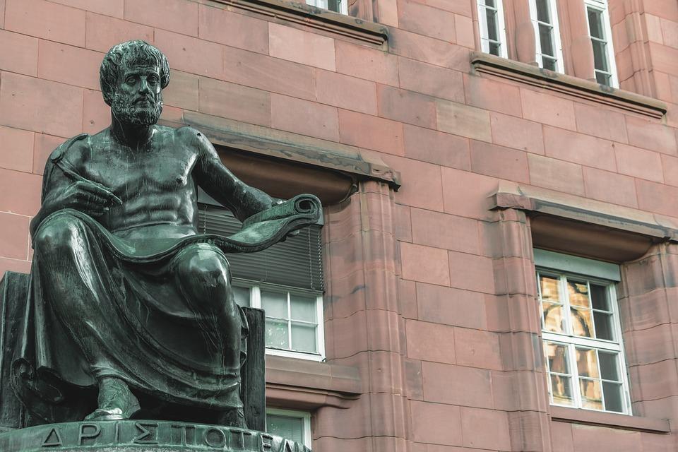 彫刻, ブロンズ, フィギュア, アリストテレス, 哲学者, 自然科学者, 手, マーカー ペン, 役割, 紙