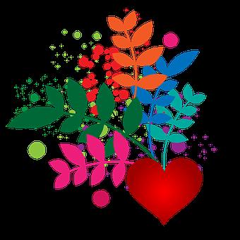 Blätter, Blumen, Herz, Vignette, Blatt