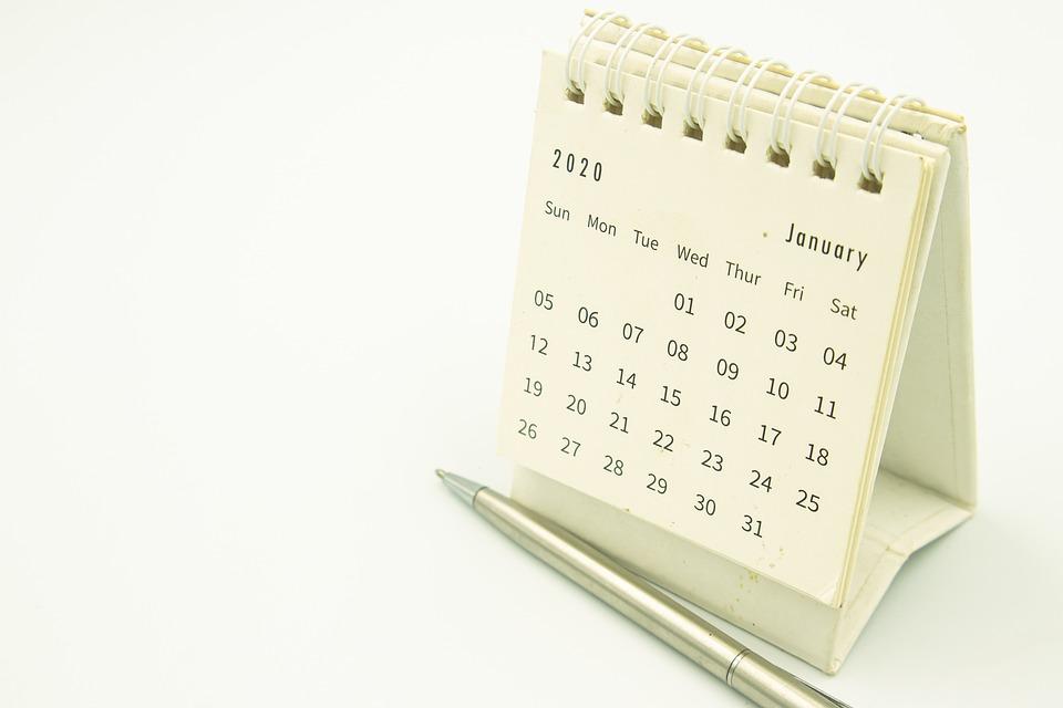 カレンダー, クリップ, 日, デスク, イベント, 日常, ペン, 日記, 事業, 月, ホワイト, ブルー