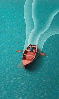 ボート, 海, ローイング, 木材, 男, 人, 水, 穏やかな, ファンタジー