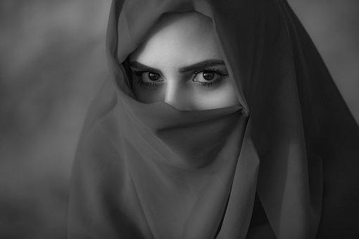 Arabic, Asian, Black And White, Burqa