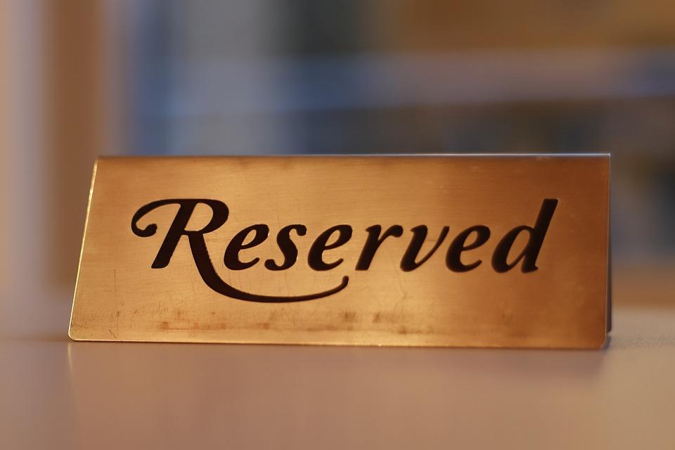 予約, 金属, プレート, ホテル, エレガント, 場所, 情報, メッセージ, レストラン, サービス