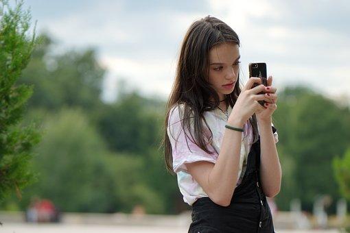 Girl, Taking Photos, Smartphone