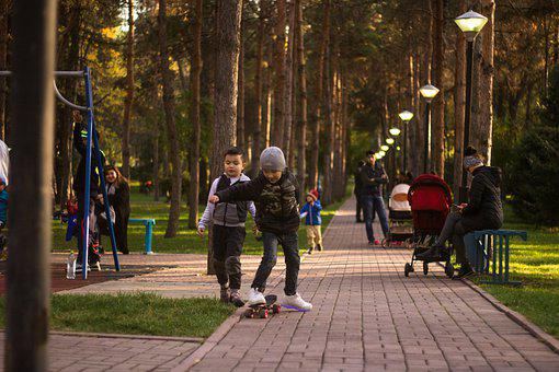 Kids, Game, Skateboard, Joy, Park