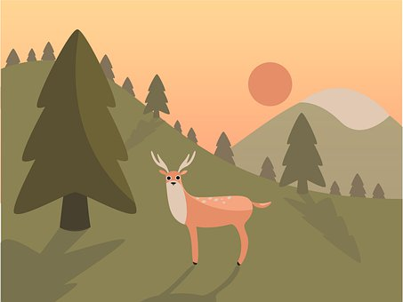 Landscape, Deer, Mountain, Nature, Wild