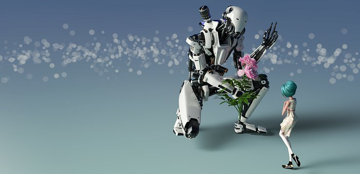 The Girl And The Robot, Robot, Flower