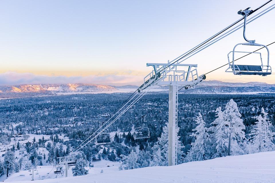 Ski Lift, Snow, Mountains, Big Bear Mountain, Chairlift