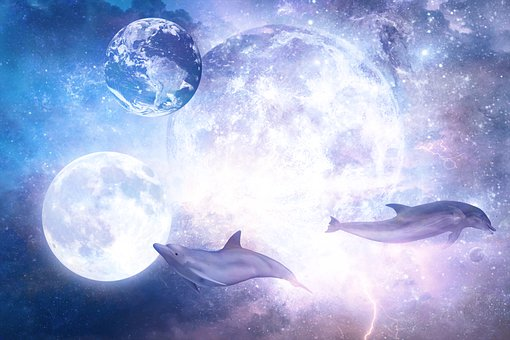 Moon, Dolphins, Space, Earth, Sci-Fi