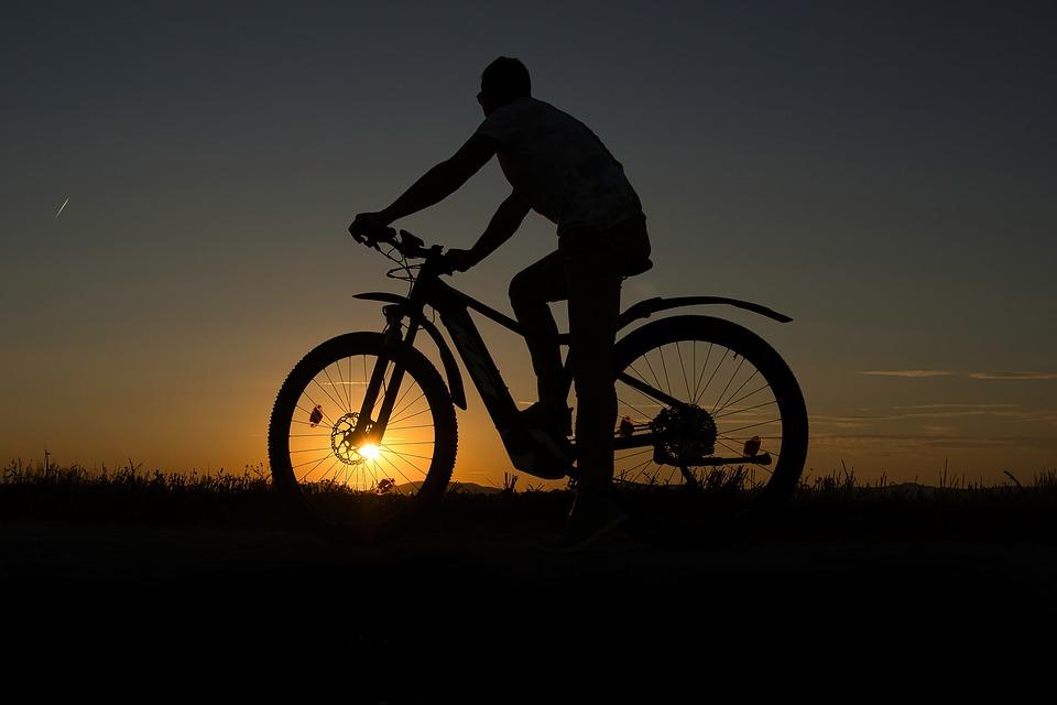 Sunset, Bike, Man, Person, Human, Wheel, Cycling