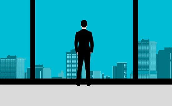 Mann, Büro, Fenster, Glas, Stehen