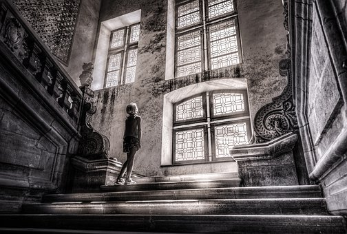 Girl, Stairs, Castle, Architecture