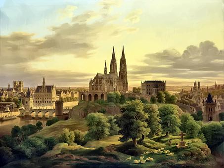 Medeltida, Byggnader, Architech, Målning