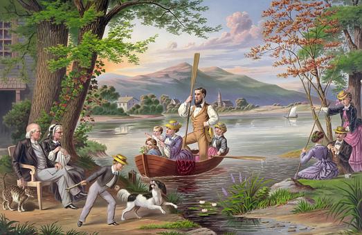 Målning, Familjen, Liggande, Sjö
