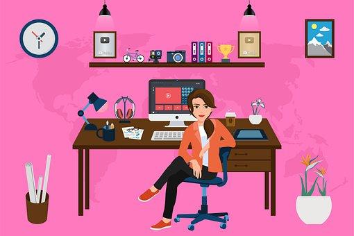 Woman, Desk, Computer, Office