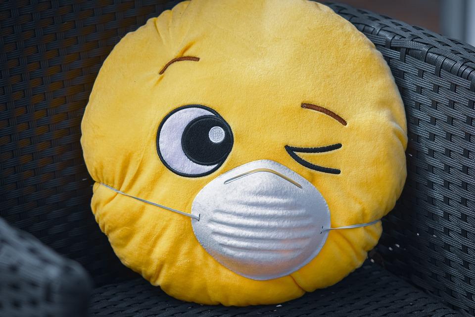 Pillow, Face, Facemask, Emoji, Wink, Smiley, Virus