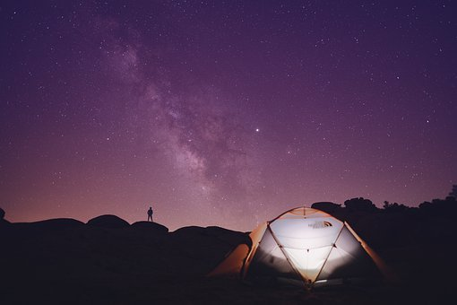 Tent, Camping, Hills, Man, Silhouette