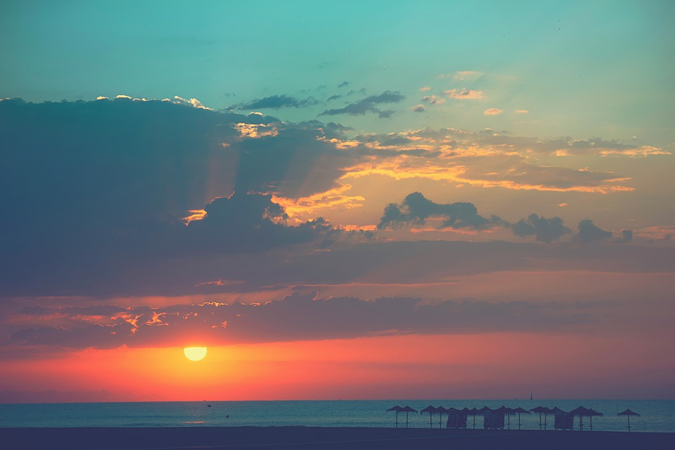 Beach, Dawn, Umbrellas, Clouds, Shore, Coast, Sunset