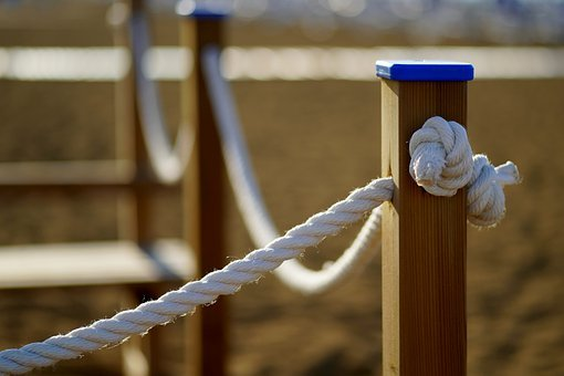 ロープ, 結び目, フェンス, 目標, 木材, バリア, フェンシング, 手すり