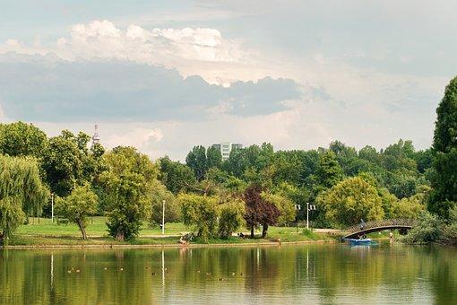 See, Wasser, Bäume, Park, Brücke