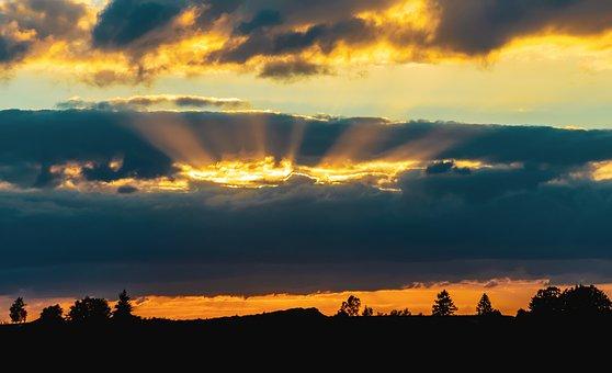 Sonnenuntergang, Sonnenstrahlen, Himmel