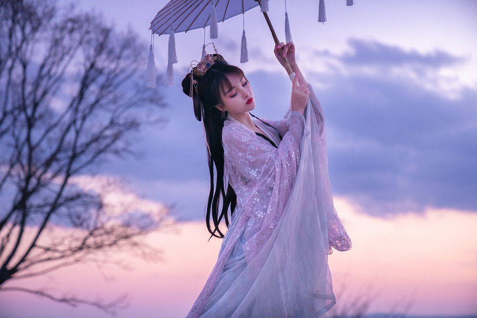 Žena, Slunečník, Japonec, Kimono, Tradiční Oblečení