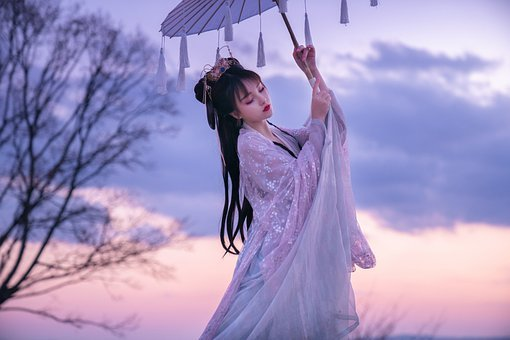 女性, 日傘, 日本, 着物, 伝統的な摩耗, 女の子, 優雅です, モデル