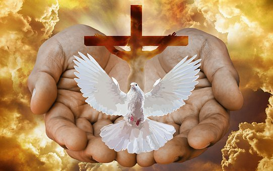Dove, Cross, Hands, Fire, God, Trinity