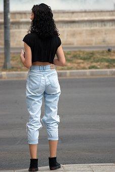 Mädchen, Junge, Person, Jeans, Sexy