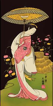 Woman, Geisha, Kimono, Umbrella, Japan