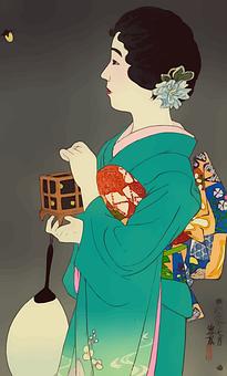 Geisha, Dress, Japanese, Female, Woman