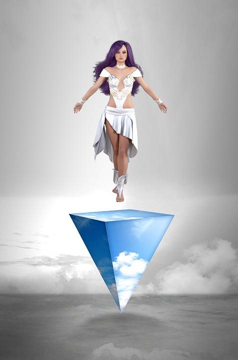 Vrouw, Godin, Wolken, Piramide, Horizon, Mystic