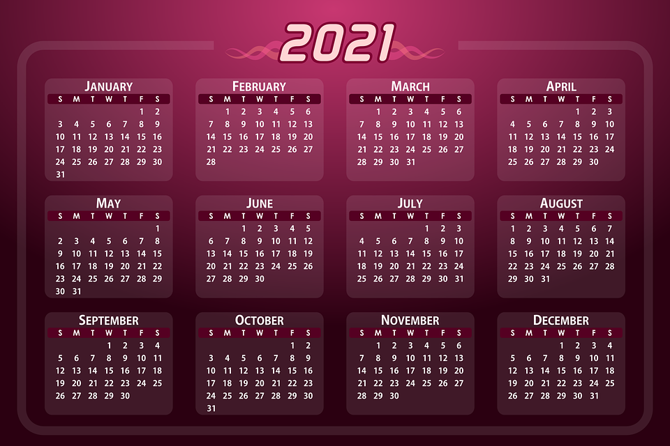 Calendar Date 2021   Free vector graphic on Pixabay