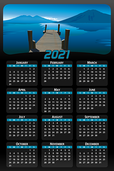 Calendar, Date, 2021, Days, Weeks