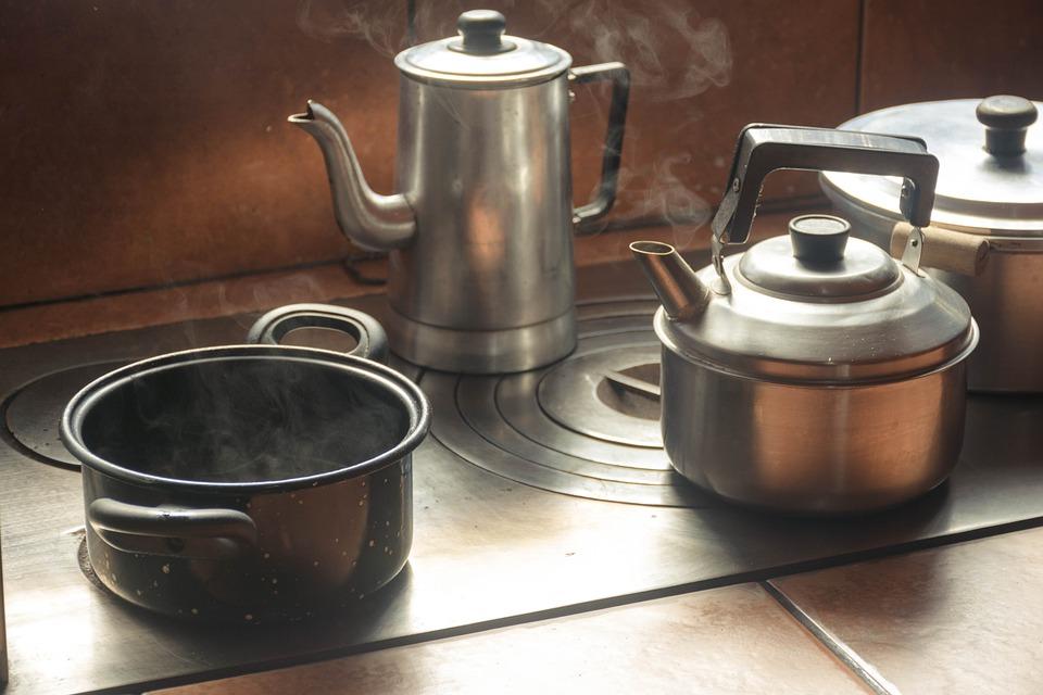 キッチン, ティーポット, やかん, コーヒー, ドリンク, ホット, ストーブ, 食品, 蒸気